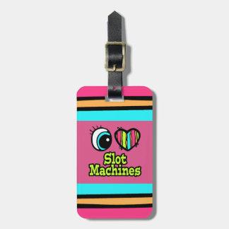 Máquinas tragaperras brillantes del amor del coraz etiquetas bolsa