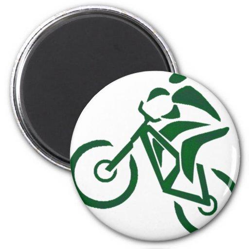 máquinas verdes de la bici iman de nevera