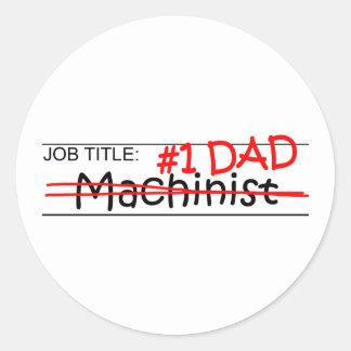Maquinista del papá del trabajo pegatina redonda