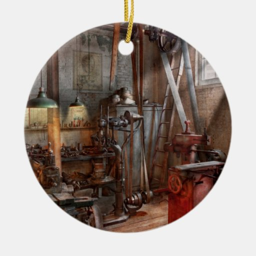 Maquinista - el taller moderno adorno redondo de cerámica