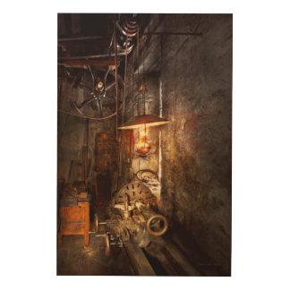 Maquinista - torno - la esquina de un taller viejo cuadro de madera
