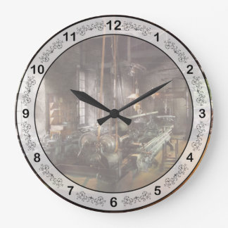 Maquinista - torno - un torno largo reloj redondo grande