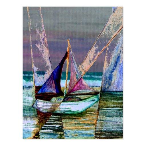 Mar abstracto de la turquesa del velero postal