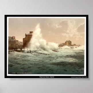 Mar agitado, Bognor, Inglaterra Póster