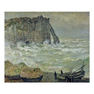 Mar agitado de Claude Monet el | en Etretat, 1883 Póster