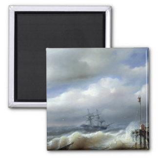 Mar agitado en el clima tempestuoso, 1846 iman de nevera