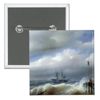Mar agitado en el clima tempestuoso, 1846 pin cuadrado