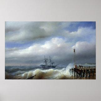 Mar agitado en el clima tempestuoso, 1846 póster