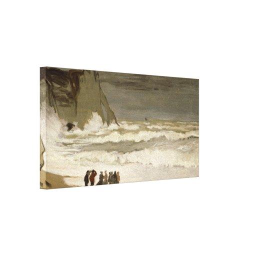 Mar agitado en Etretat - Claude Monet Impresiones En Lona Estiradas