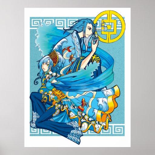 Mar azul de la impresión blanca del poster de las