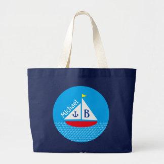 Mar azul náutico marino del velero rojo con monogr bolsa tela grande