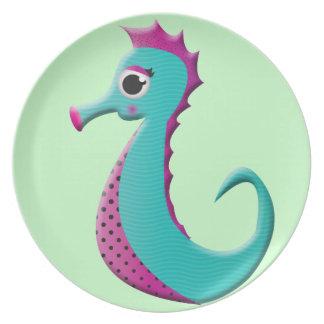 Mar-caballo del dibujo animado platos de comidas