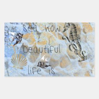 Mar cómo es la vida hermosa, Seahorse, almeja, Pegatina Rectangular