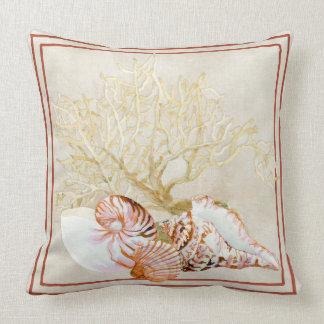 Mar coralino Shell de la concha del nautilus de la Cojín Decorativo
