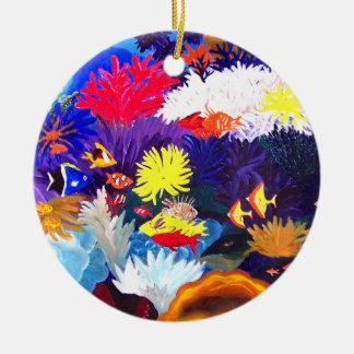 Mar de coral adorno navideño redondo de cerámica