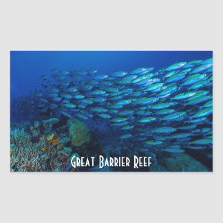 Mar de coral tropical de la gran barrera de coral pegatina rectangular