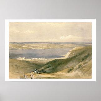 Mar de Galilea o de Genezareth, mirando hacia golp Póster