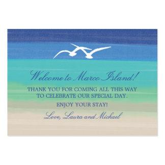 Mar de la arena y etiqueta del favor de las tarjetas de visita