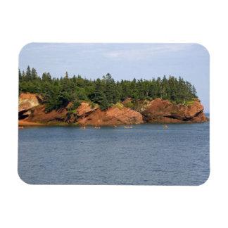 Mar de la gente kayaking en la bahía de Fundy en e Imán Rectangular