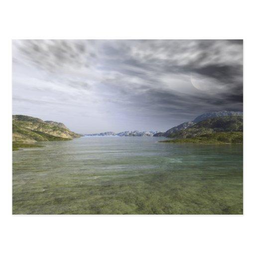 Mar de la montaña tarjetas postales