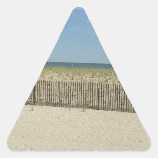 Mar de la orilla pegatina triangular