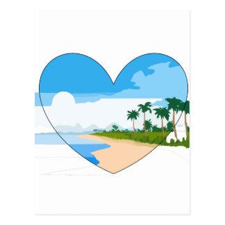 Mar de las palmeras de la playa arenosa del postales