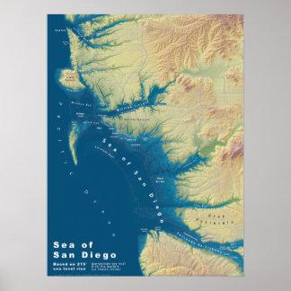 Mar de San Diego--Mapa de la subida del nivel del Póster