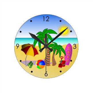Mar de Sun de la playa y relojes de pared redondos