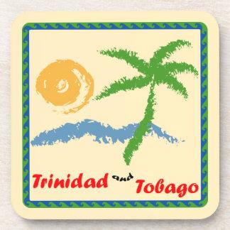 Mar de Trinidad and Tobago Sun y árbol de coco Posavaso