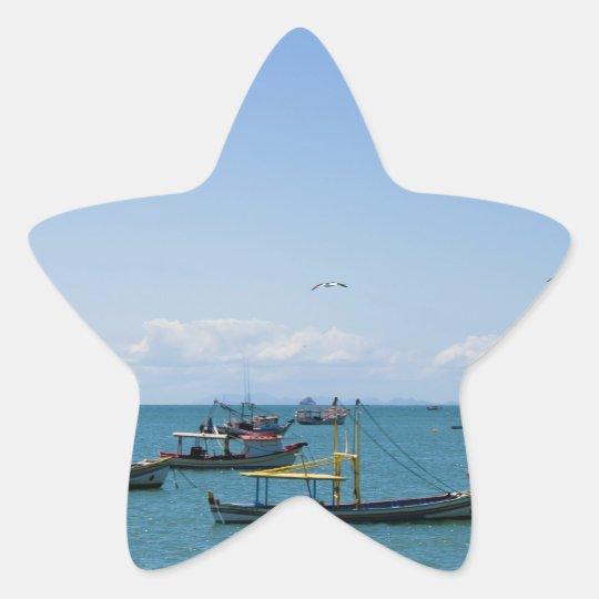 Mar del arte costero y fotografía azules de los pegatina en forma de estrella