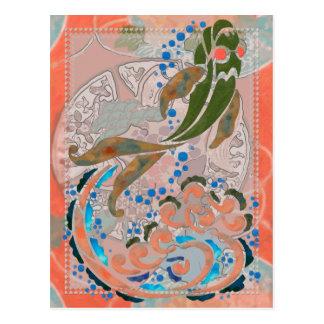 Mar del arte popular asiático de la paz postal