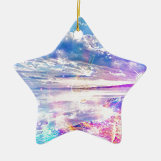 Mar del baile adorno navideño de cerámica en forma de estrella