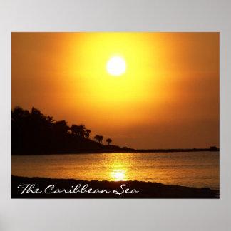 Mar del Caribe de Cancun México del maya de Rivier Póster