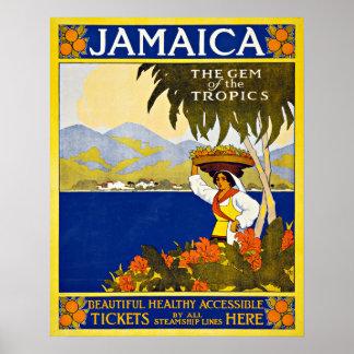 Mar del Caribe de Jamaica del viaje del vintage Póster