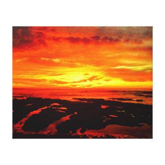 Mar del fuego impresión en lienzo