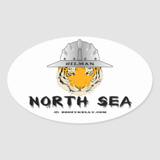 Mar del Norte tigre costero Oilman aceite gas Colcomanias Óval Personalizadas