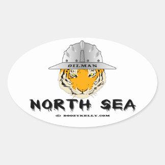 Mar del Norte, tigre, costero, Oilman, aceite, Pegatina Ovalada