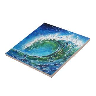 Mar del océano de la onda de la pintura al óleo de azulejo cuadrado pequeño