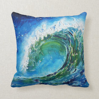Mar del océano de la onda de la pintura al óleo de cojín