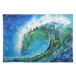 Mar del océano de la onda de la pintura al óleo de manteles individuales