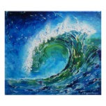 Mar del océano de la onda de la pintura al óleo de impresiones