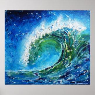 Mar del océano de la onda de la pintura al óleo de póster
