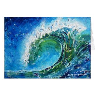 Mar del océano de la onda de la pintura al óleo de tarjeta de felicitación