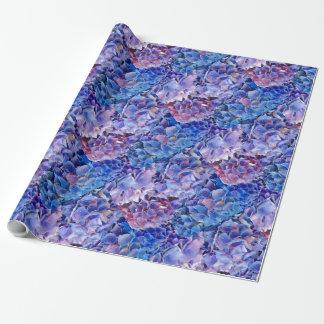 Mar del papel de regalo azul de las flores de los