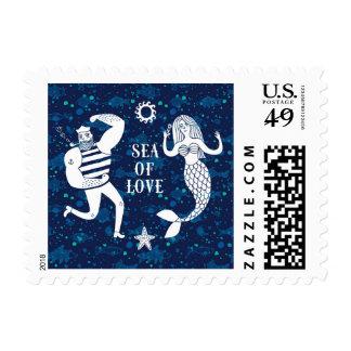 Mar del poster del amor timbre postal