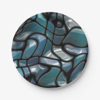 Mar del rompecabezas del mosaico plato de papel de 7 pulgadas