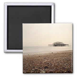 Mar en la playa de Brighton Imán Cuadrado