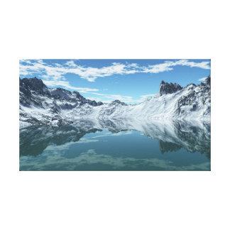 Mar frío de la montaña impresión en lienzo estirada