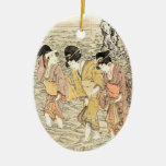 Mar japonés fresco de la mujer del ukiyo-e tres adorno navideño ovalado de cerámica