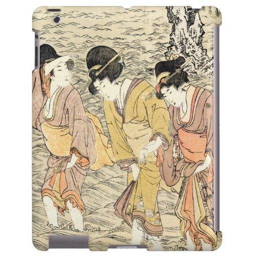 Mar japonés fresco de la mujer del ukiyo-e tres de funda para iPad